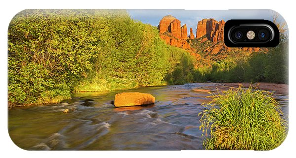 Cathedral Rock iPhone Case - Cathedral Rocks Reflect Into Oak Creek by Chuck Haney