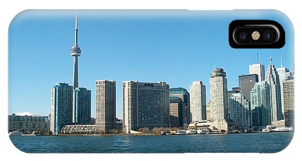 Cn Tower Toronto View From Centre Island Downtown Panorama Improvised With Graphic Artist Tools Pain IPhone Case