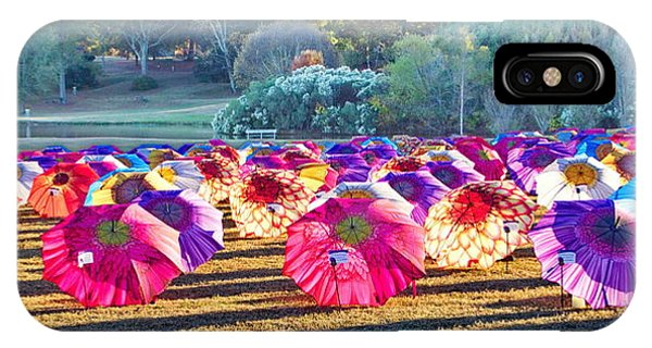 Colorful Umbrellas At The Park IPhone Case