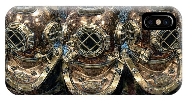 Scuba Diving iPhone Case - 3 Deep-diving Helmets by Daniel Hagerman