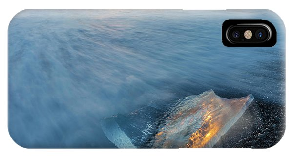 Black Sand iPhone Case - Diamond Ice Chards From Calving by Chuck Haney