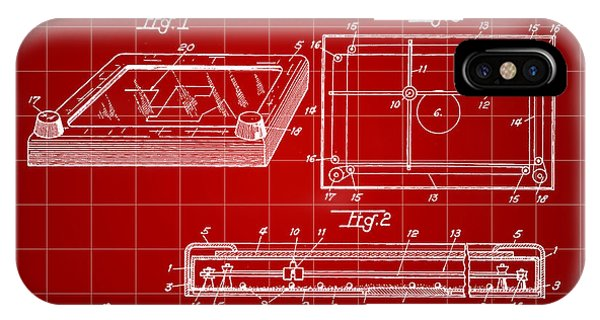Etch-a-sketch iPhone Case - Etch A Sketch Patent 1959 - Red by Stephen Younts