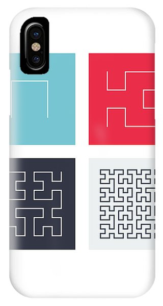 Fractal Geometry iPhone X Case - Hilbert Curves Of Order 1 2 3 And 4 by Martin Krzywinski