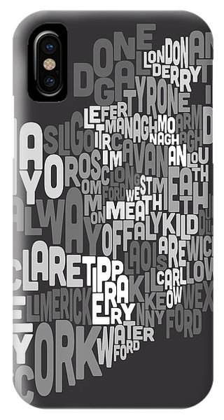 Irish iPhone Case - Ireland Eire County Text Map by Michael Tompsett