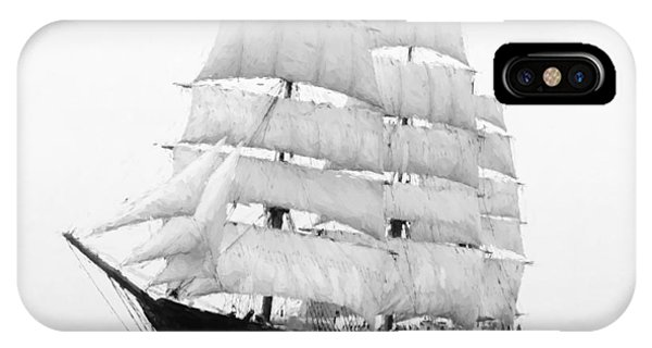 Schooner iPhone Case - 3 Masted Ship Mary L. Cushing by Daniel Hagerman