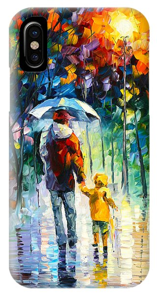 Rainy Walk With Daddy IPhone Case