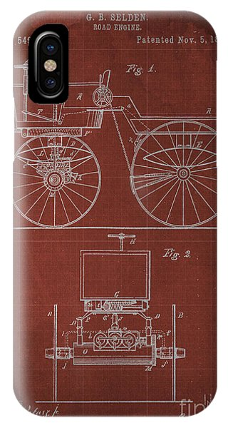 1895 iPhone Case - Road Engine Patent 1895 by Drawspots Illustrations