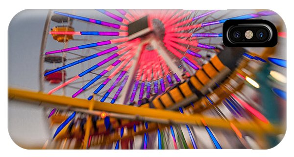 Santa Monica Pier Ferris Wheel And Roller Coaster At Dusk IPhone Case