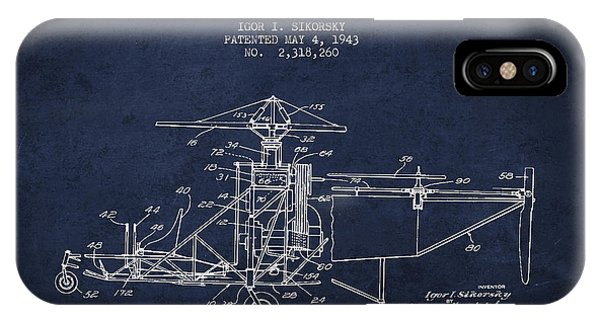 Sikorsky Helicopter Patent Drawing From 1943 IPhone Case