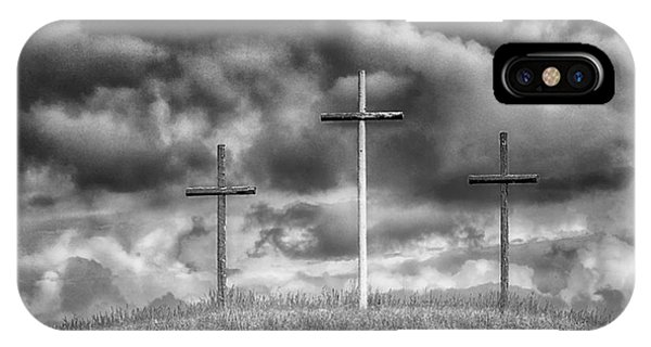 Three Crosses On Hill IPhone Case