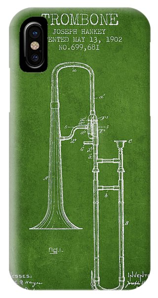Trombone iPhone X Case - Trombone Patent From 1902 - Green by Aged Pixel