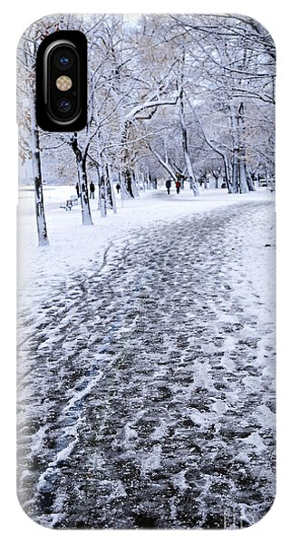 Snowy Road iPhone Case - Winter Park by Elena Elisseeva