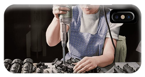 Woman Worker Using An Electric IPhone Case