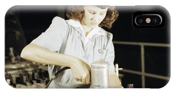 Women Drilling A Wing Bulkhead IPhone Case