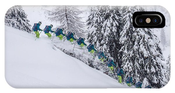 Young Male Freerider Skiing Down A Powder Slope Phone Case by Leander Nardin