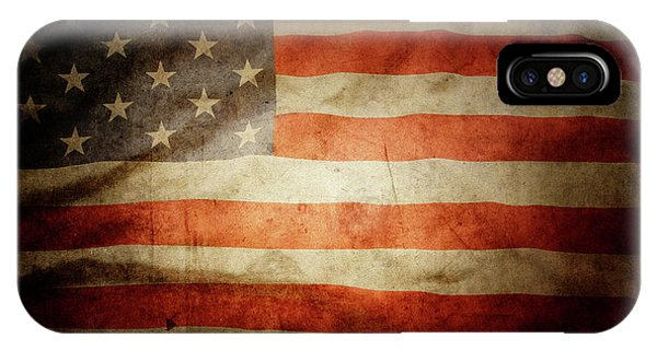 American iPhone Case - American Flag Rippled by Les Cunliffe