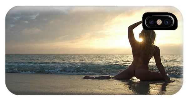 3954 Sunrise Yoga Nude On The Beach  IPhone Case