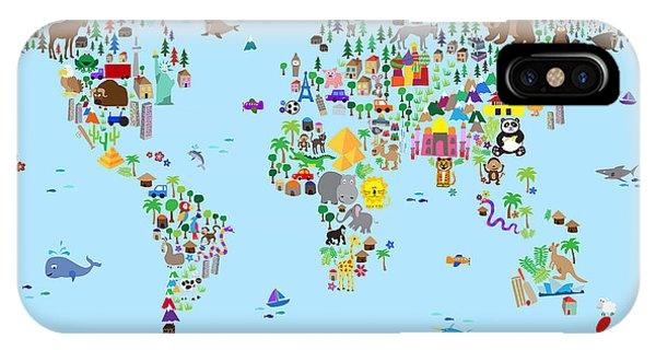 Cartoon iPhone Case - Animal Map Of The World For Children And Kids by Michael Tompsett
