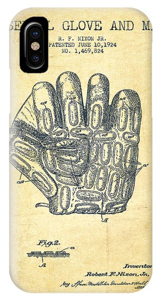 Baseball Glove Patent Drawing From 1924 IPhone Case