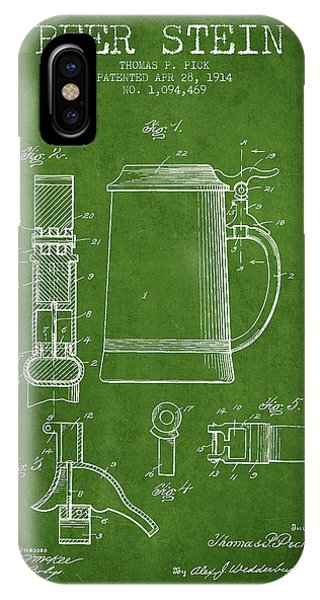 Beer Stein Patent From 1914 - Green IPhone Case