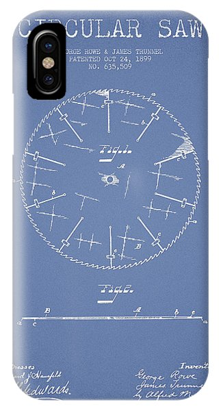 Woodworking iPhone Case - Circular Saw Patent Drawing From 1899 by Aged Pixel