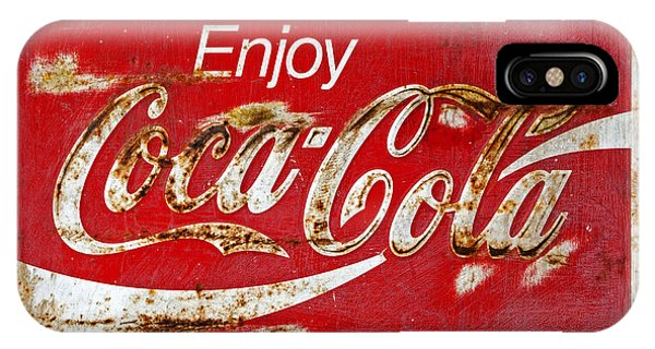 Coca Cola Vintage Rusty Sign Black Border IPhone Case
