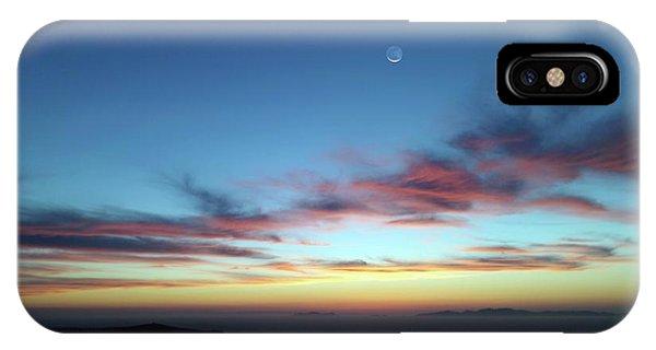 Crescent Moon In Cloudy Sky Phone Case by Detlev Van Ravenswaay