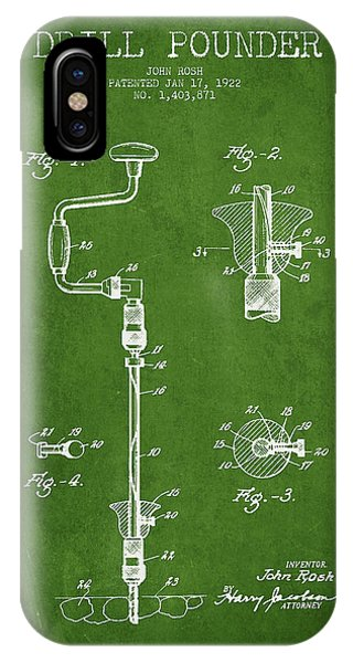 Drill Pounder Patent Drawing From 1922 IPhone Case