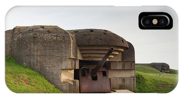 Battery D iPhone Case - France, Normandy, D-day Beaches Area by Walter Bibikow