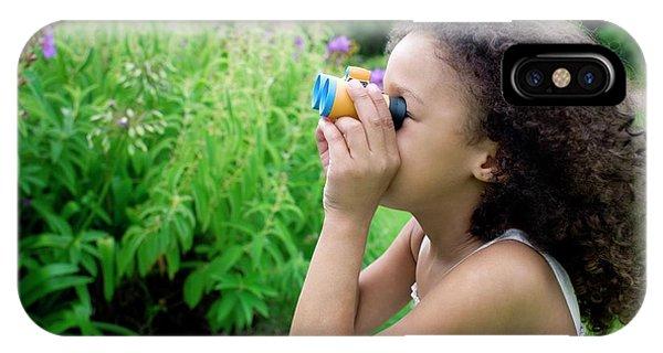 Human Interest iPhone Case - Girl Using Binoculars by Ian Hooton/science Photo Library