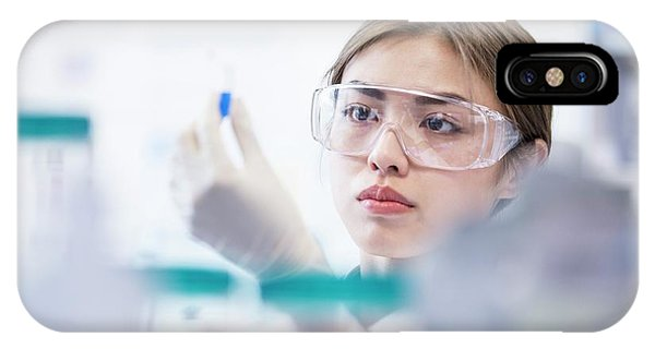 Lab Assistant Wearing Safety Goggles Phone Case by Science Photo Library