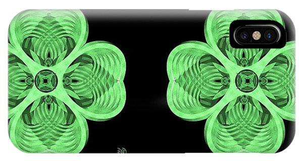 Leave iPhone Case - 4 Leaf Clover - Stereogram by David Voutsinas