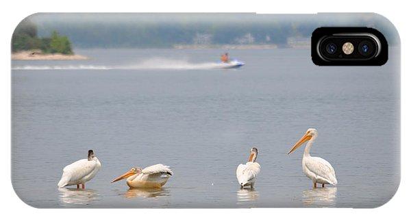 Jet Ski iPhone Case - 4 Pelicans by Jeremy Evensen