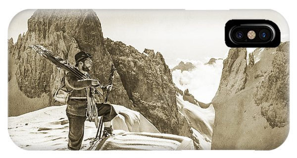 Portrait Of A Bearded Man In Old Nostalgic Skiing Outfit Phone Case by Leander Nardin