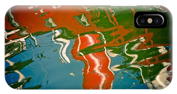 Reflection In Water Of Red Boat IPhone Case