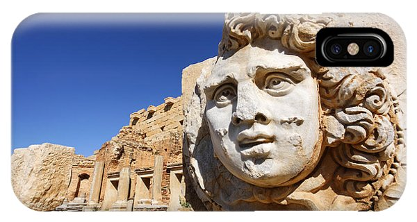 Sculpted Medusa Head At The Forum Of Severus At Leptis Magna In Libya IPhone Case