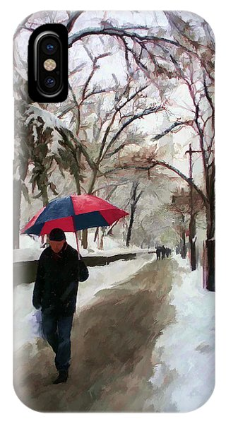Snowfall In Central Park IPhone Case