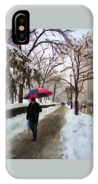 IPhone Case featuring the digital art Snowfall In Central Park by Deborah Boyd