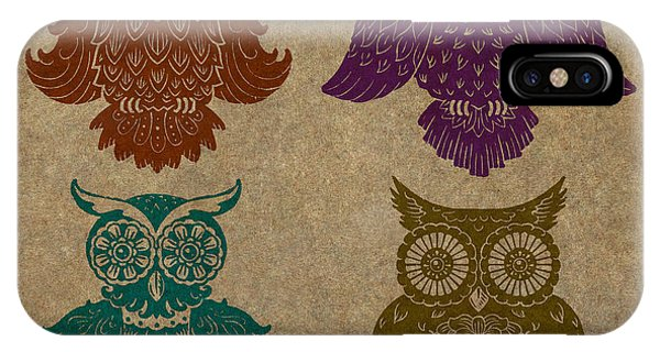 4 Sophisticated Owls Colored IPhone Case