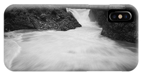 The Soteska Vintgar Gorge In Black And White IPhone Case