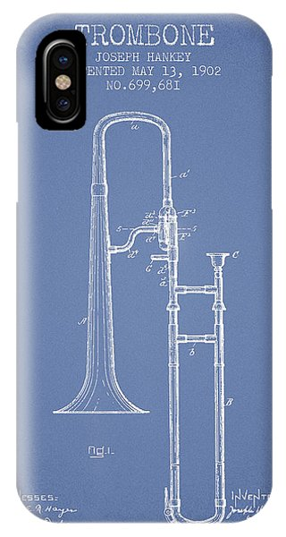 Trombone iPhone Case - Trombone Patent From 1902 - Light Blue by Aged Pixel