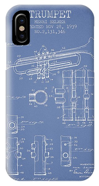 Trumpet iPhone Case - Trumpet Patent From 1939 - Light Blue by Aged Pixel