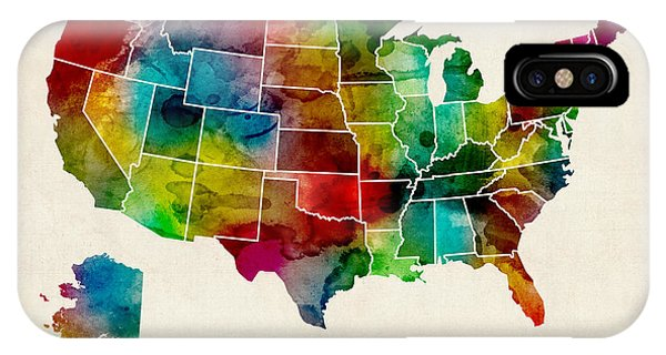 United States iPhone Case - United States Watercolor Map by Michael Tompsett