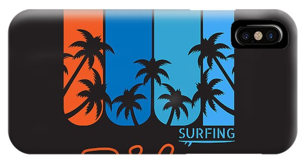 Surfboard iPhone Case - Vector Illustration On The Theme Of by Serge Geras