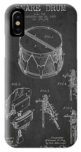 Drum iPhone Case - Vintage Snare Drum Patent Drawing From 1889 - Dark by Aged Pixel
