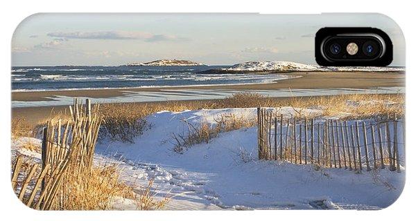 Winter At Popham Beach State Park Maine IPhone Case