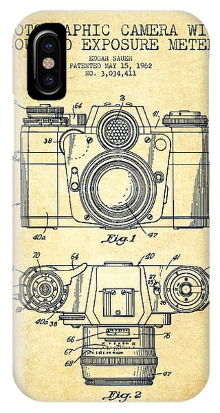 Vintage Camera iPhone Case - Camera Patent Drawing From 1962 by Aged Pixel