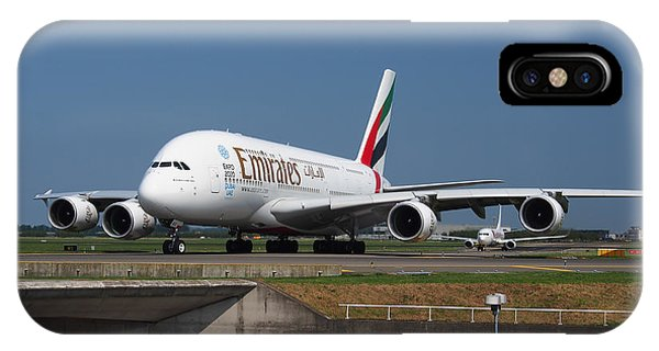 iPhone Case - Emirates Airbus A380 by Paul Fearn