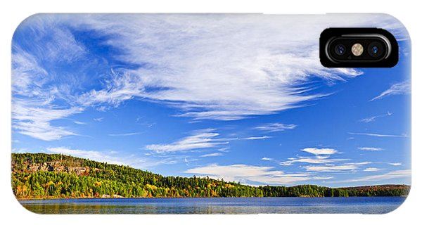 Blue Sky iPhone Case - Fall Forest And Lake by Elena Elisseeva