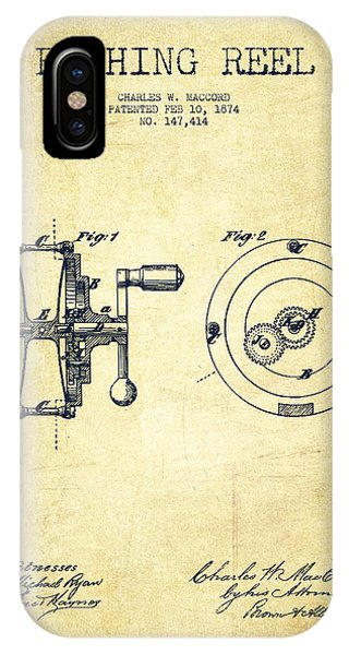 Patent Drawing iPhone Case - Fishing Reel Patent From 1874 by Aged Pixel